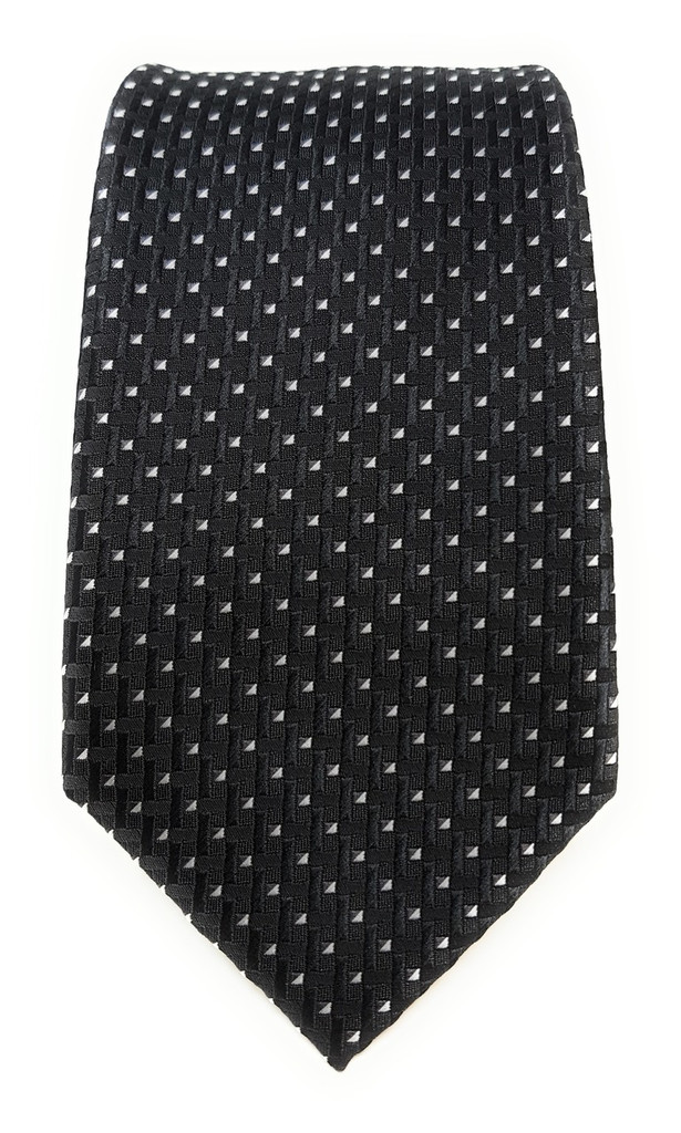 Labiyeur Men's Necktie: Fully Lined Woven Jacquard Slim Neck Tie Black Basketweave