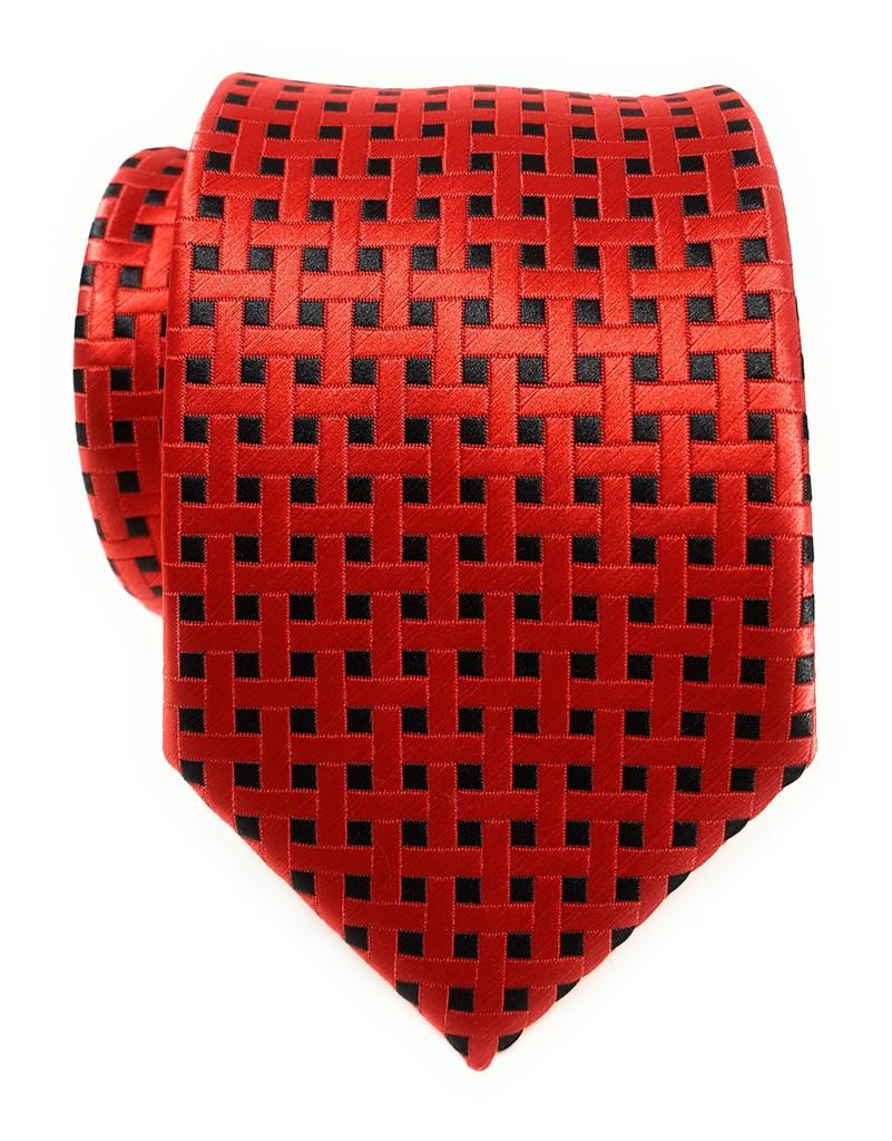 Labiyeur Men's Necktie: Fully Lined Woven Jacquard Slim Neck Tie Red Black Basketweave