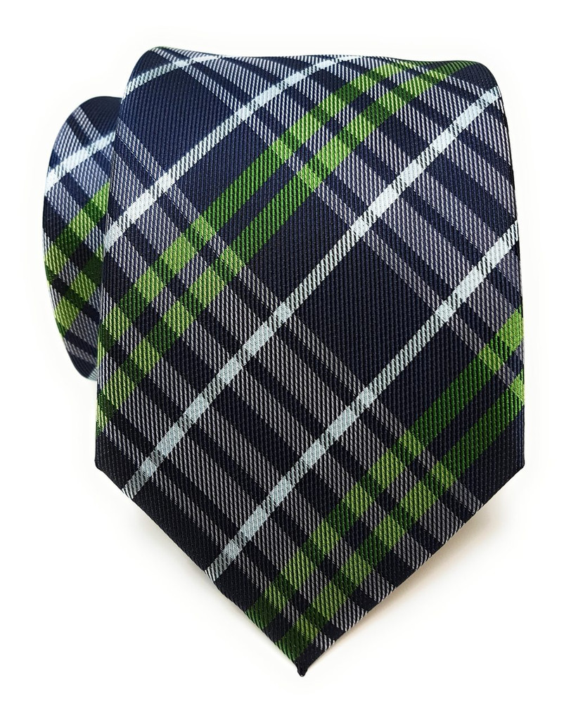 Labiyeur Men's Necktie: Fully Lined Woven Jacquard Slim Neck Tie Plaid Black Watch