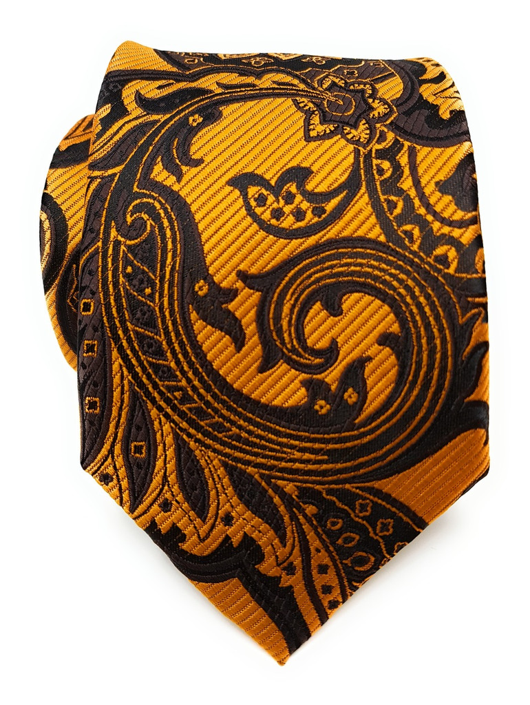 Labiyeur Men's Necktie: Fully Lined Woven Jacquard Slim Neck Tie Gold Paisley
