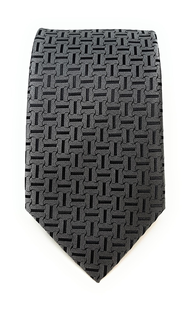 Labiyeur Men's Necktie: Fully Lined Woven Jacquard Slim Neck Tie Carbon Grey Basketweave