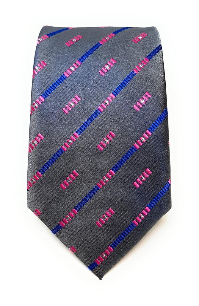 Labiyeur Men's Necktie: Fully Lined Woven Jacquard Slim Neck Tie Carbon Grey Striped