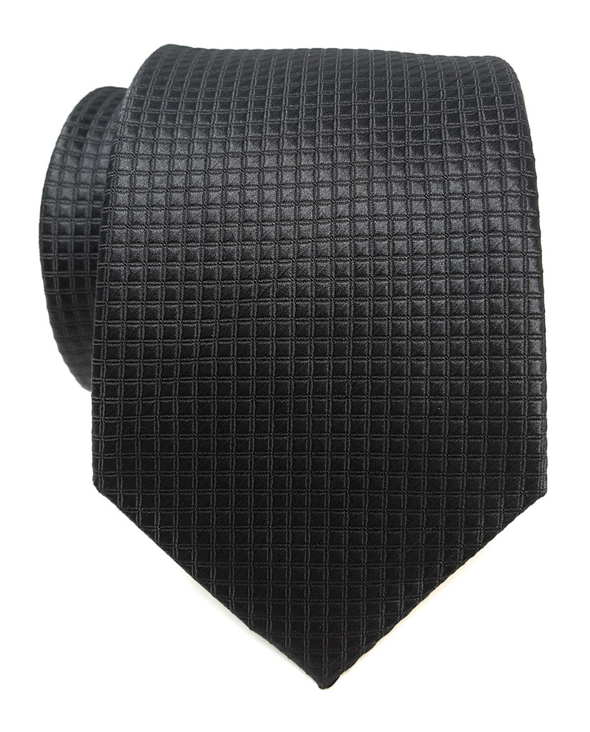 Labiyeur Men's Necktie: Fully Lined Woven Jacquard Slim Neck Tie Black Grid