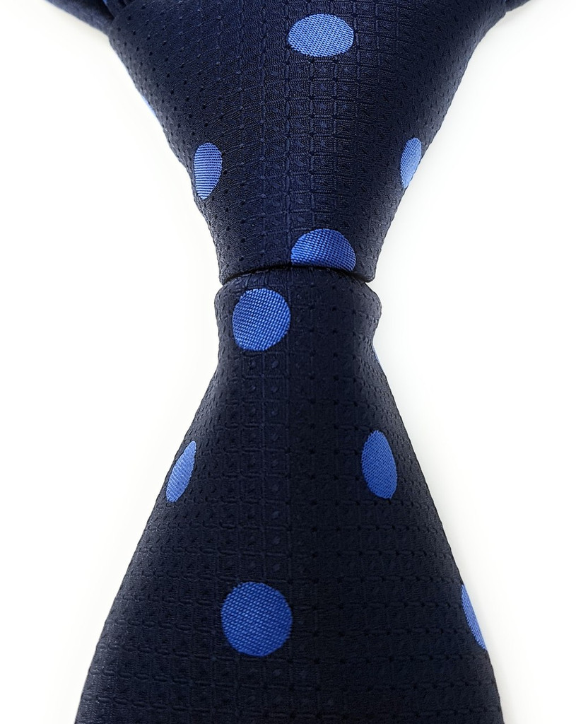 Labiyeur Men's Necktie: Fully Lined Woven Jacquard Slim Neck Tie Navy Blue Polka Dot