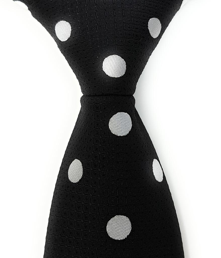 Labiyeur Men's Necktie: Fully Lined Woven Jacquard Slim Neck Tie Black Polka Dot