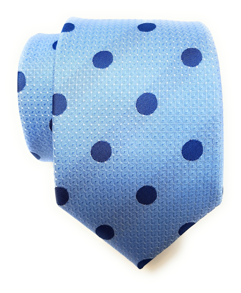 Labiyeur Men's Necktie: Fully Lined Woven Jacquard Slim Neck Tie Sky Blue Polka Dot