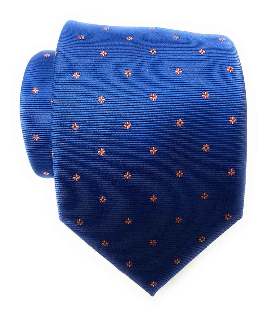 Labiyeur Men's Necktie: Fully Lined Woven Jacquard Slim Neck Tie Blue Starry