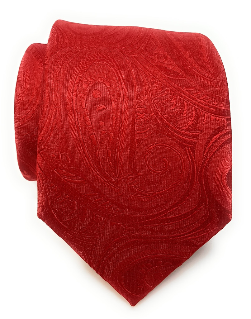 Labiyeur Men's Necktie: Fully Lined Woven Jacquard Slim Neck Tie Red Paisley