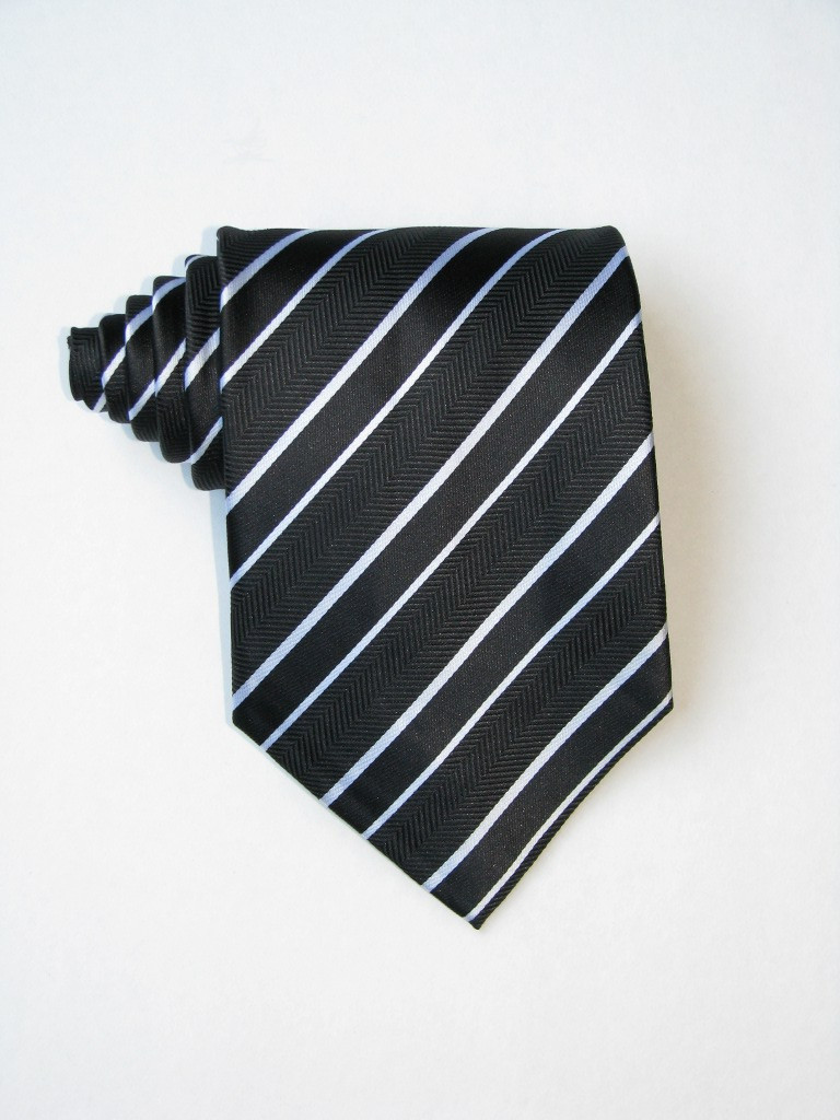 Double White Stripe Over Black Background Tie