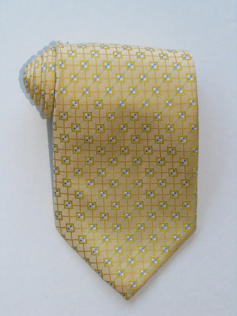 Multi Square Blue Dots Yellow Tie