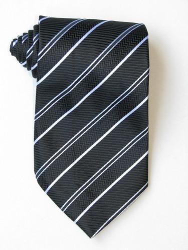 Free 2 Versus1 White Stripe Black Background Tie