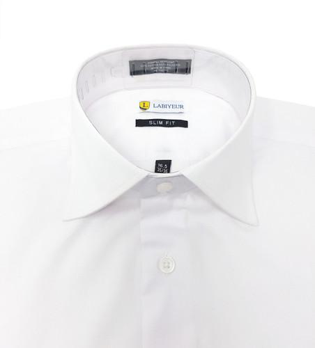 White Slim Fit Spread Collar French Cuffs Men's Shirt
