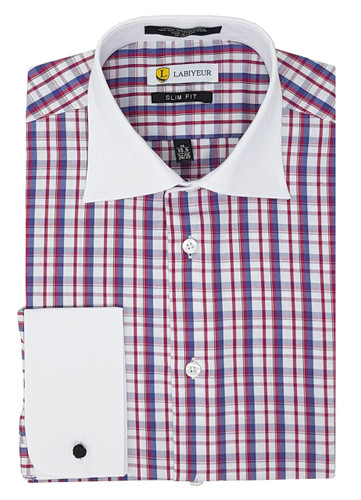 Labiyeur Slim Fit Multicolor Spread Collar French Cuffs Dress Shirts