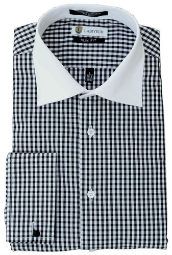 Labiyeur Slim Fit Black and White Square Checked Cotton Blend French Cuffs Dress Shirt