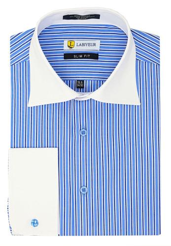 Labiyeur Slim Fit Double Blue White Stripes French Cuff Dress Shirt