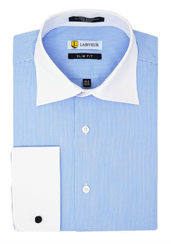 Labiyeur Slim Fit Blue White Fine Stripes French Cuff Dress Shirt