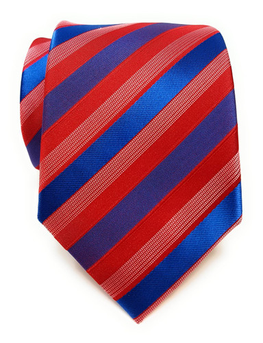 Labiyeur Men's Necktie: Fully Lined Woven Jacquard Slim Neck Tie Red and Blue Wide Striped