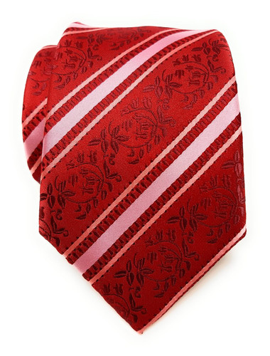 Labiyeur Men's Necktie: Fully Lined Woven Jacquard Slim Neck Tie Red Floral Striped