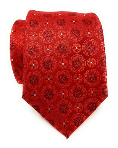 Labiyeur Men's Necktie: Fully Lined Woven Jacquard Slim Neck Tie Red Button Patterns