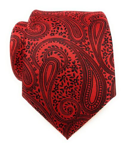 Labiyeur Men's Necktie: Fully Lined Woven Jacquard Slim Neck Tie Red Black Paisley Pattern