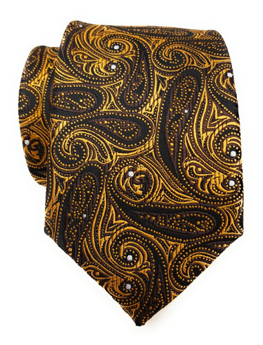 Labiyeur Men's Necktie: Fully Lined Woven Jacquard Slim Neck Tie Black Paisley
