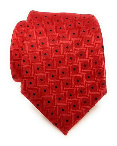 Labiyeur Men's Necktie: Fully Lined Woven Jacquard Slim Neck Tie Red Dots