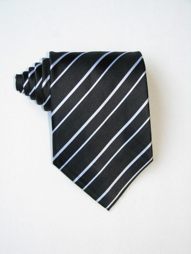 Free Double White Stripe Over Black Background Tie