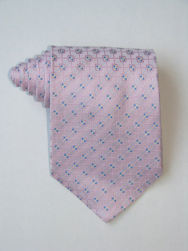 Multi Square Blue Dots Pink Tie