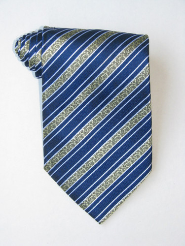 Golden Flowers Stripe Blue Background Tie