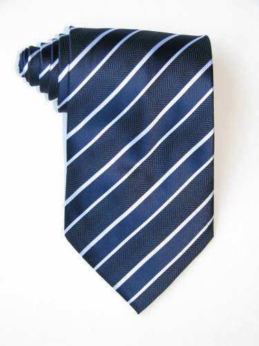 Double White Stripe Over Blue Background Tie