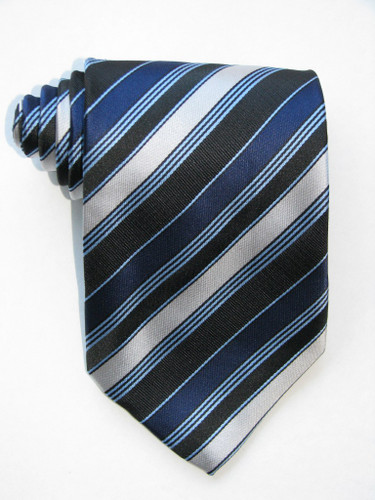 Variegated Stripes Silver Bands Navy Tie