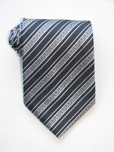 Golden Flowers Stripe Charcoal Background Tie