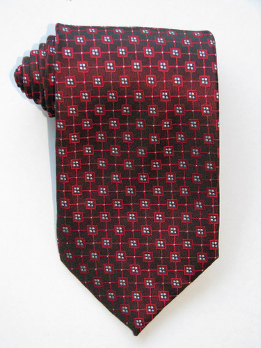 Multi Square Blue Dots Burgundy Tie