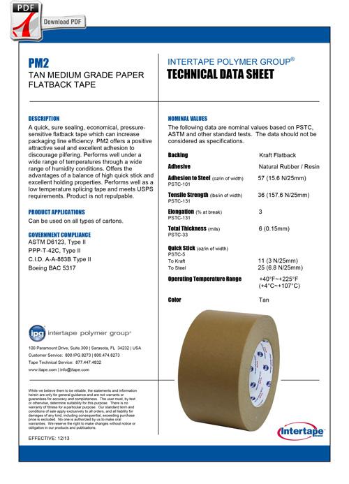 INTERTAPE KRAFT FLATBACK Tape PM2 Spec Sheet