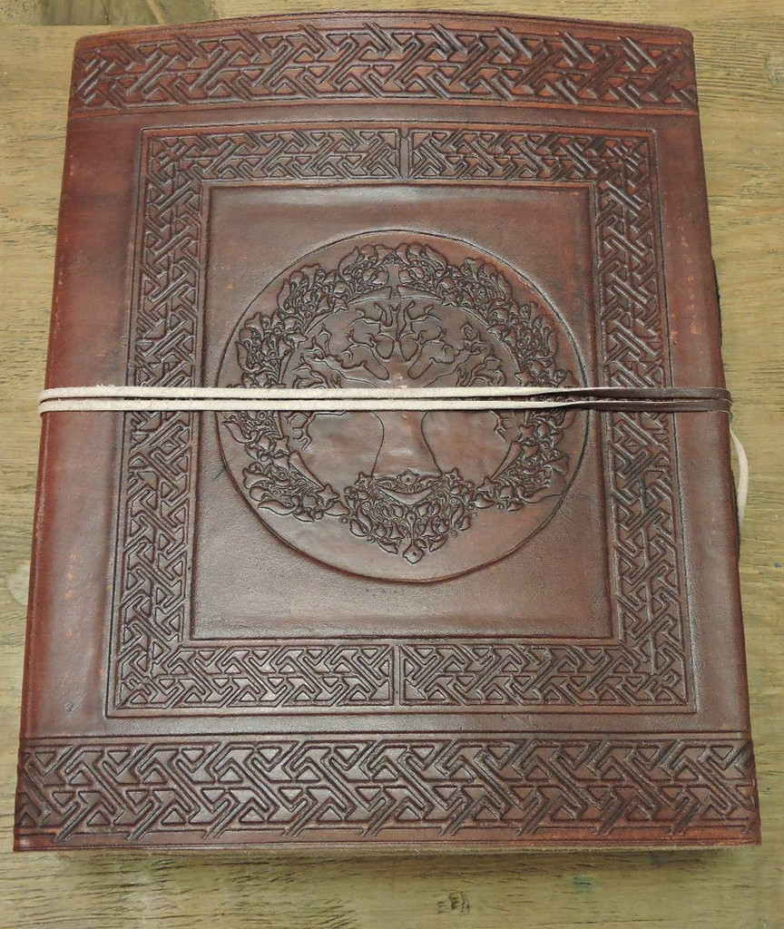 Tree of Life Celtic Old World Leather Journal - embossed image
