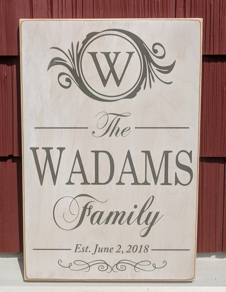 Personalized Family Sign with Monogram and Established Date