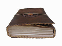 Leather Journal - Medium with Orange Marbled Stone - view of paper