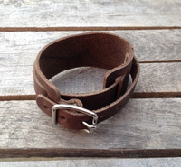 leather wrist band with buckle