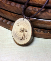 Rustic Wood Pendant - Two Are One Evergreens with Birds