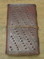 9 x 5 leather journal - back view with embossing