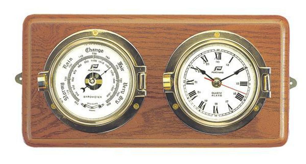 Clock & Barometer on Wood
