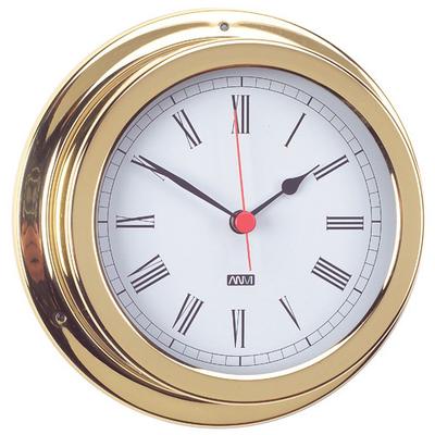 RWB Clock Brass/Chrome Standard Roman Numerals 120mm