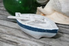 "Decorative Wooden Boat 8"" - Blue Rustic Nautical Decor 