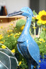 "Decorative Heron Bird 14"" Wooden - Blue Rustic Nautical Decor 
