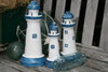 "SET OF 3 ""LIGHTHOUSES"" - RUSTIC BLUE & WHITE NAUTICAL - NAUTICAL DECOR"