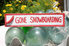 """""""GONE SNOWBOARDING"""" NAUTICAL SIGN 12"""" RED - BEACH DECOR"""