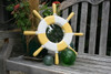 "Ship Wheel Mirror 20"" - Yellow Rustic Nautical Decor 