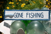 """GONE FISHING"" NAUTICAL SIGN 12"" BLUE - BEACH DECOR"