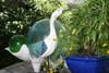 """EGRET BIRD"" - RUSTIC BLUE COASTAL 14"" - GARDEN/HOME DECOR 5"