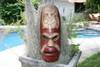"FIJIAN TIKI MASK W/ 2 CARVED TURTLES - 20"" FISHING/OCEAN - POLYNESIAN ART"